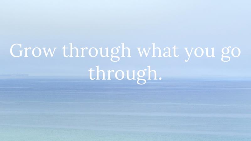 Grow through what you go through.